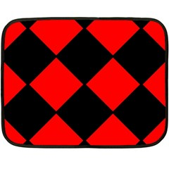 Red Black Square Pattern Fleece Blanket (mini)