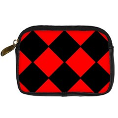 Red Black square Pattern Digital Camera Cases
