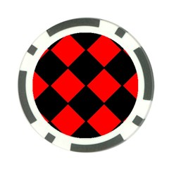 Red Black square Pattern Poker Chip Card Guard (10 pack)