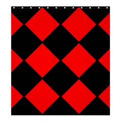 Red Black square Pattern Shower Curtain 66  x 72  (Large)