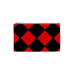 Red Black square Pattern Cosmetic Bag (Small)