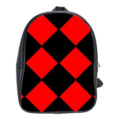 Red Black Square Pattern School Bags(large)