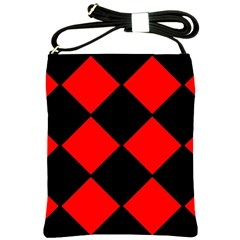 Red Black square Pattern Shoulder Sling Bags