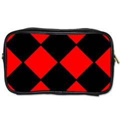 Red Black square Pattern Toiletries Bags 2-Side