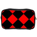 Red Black square Pattern Toiletries Bags 2-Side Front