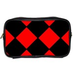 Red Black square Pattern Toiletries Bags 2-Side Back