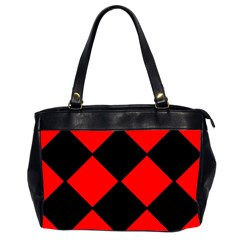 Red Black square Pattern Office Handbags (2 Sides)