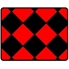 Red Black square Pattern Fleece Blanket (Medium)