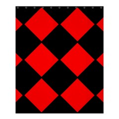 Red Black Square Pattern Shower Curtain 60  X 72  (medium)