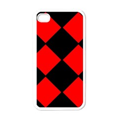 Red Black square Pattern Apple iPhone 4 Case (White)