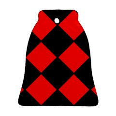 Red Black square Pattern Bell Ornament (Two Sides)