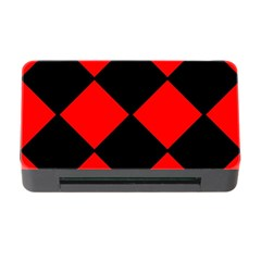 Red Black square Pattern Memory Card Reader with CF