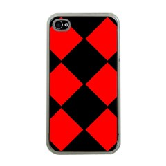 Red Black Square Pattern Apple Iphone 4 Case (clear)