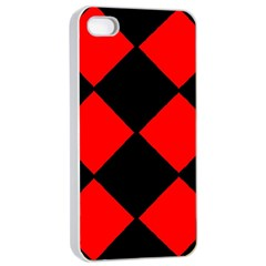 Red Black Square Pattern Apple Iphone 4/4s Seamless Case (white)