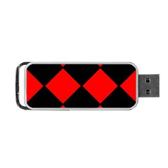 Red Black Square Pattern Portable Usb Flash (two Sides)