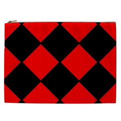 Red Black square Pattern Cosmetic Bag (XXL)