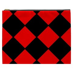 Red Black Square Pattern Cosmetic Bag (xxxl)
