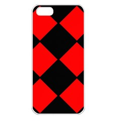Red Black square Pattern Apple iPhone 5 Seamless Case (White)