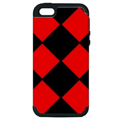 Red Black Square Pattern Apple Iphone 5 Hardshell Case (pc+silicone)