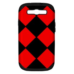 Red Black Square Pattern Samsung Galaxy S Iii Hardshell Case (pc+silicone)
