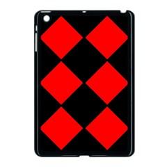 Red Black Square Pattern Apple Ipad Mini Case (black)