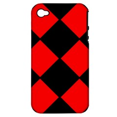 Red Black square Pattern Apple iPhone 4/4S Hardshell Case (PC+Silicone)