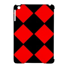 Red Black Square Pattern Apple Ipad Mini Hardshell Case (compatible With Smart Cover)