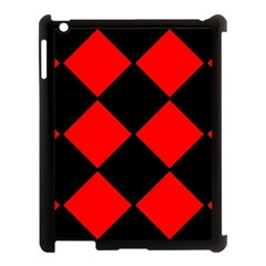 Red Black square Pattern Apple iPad 3/4 Case (Black)