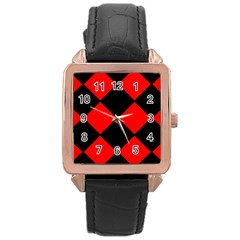 Red Black Square Pattern Rose Gold Leather Watch