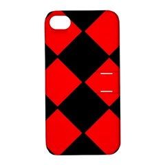 Red Black Square Pattern Apple Iphone 4/4s Hardshell Case With Stand