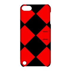 Red Black square Pattern Apple iPod Touch 5 Hardshell Case with Stand