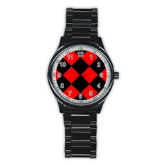 Red Black square Pattern Stainless Steel Round Watch