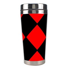 Red Black Square Pattern Stainless Steel Travel Tumblers