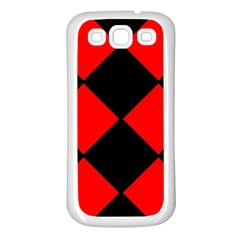 Red Black Square Pattern Samsung Galaxy S3 Back Case (white)