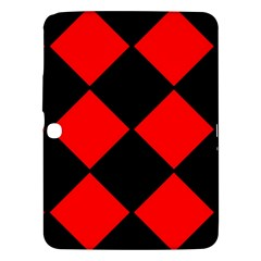 Red Black Square Pattern Samsung Galaxy Tab 3 (10 1 ) P5200 Hardshell Case