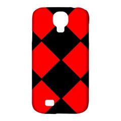 Red Black Square Pattern Samsung Galaxy S4 Classic Hardshell Case (pc+silicone)