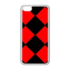 Red Black square Pattern Apple iPhone 5C Seamless Case (White)