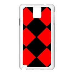Red Black Square Pattern Samsung Galaxy Note 3 N9005 Case (white)