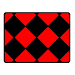 Red Black Square Pattern Double Sided Fleece Blanket (small)