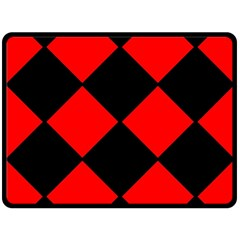 Red Black Square Pattern Double Sided Fleece Blanket (large)