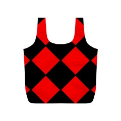 Red Black Square Pattern Full Print Recycle Bags (s)