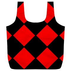 Red Black Square Pattern Full Print Recycle Bags (l)
