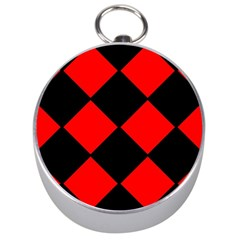 Red Black Square Pattern Silver Compasses