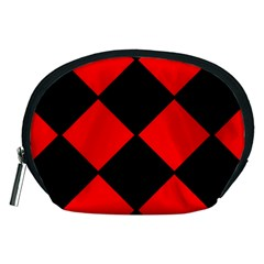 Red Black square Pattern Accessory Pouches (Medium)