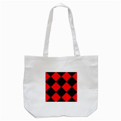 Red Black square Pattern Tote Bag (White)