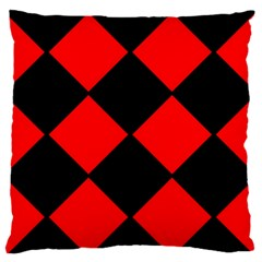 Red Black square Pattern Large Flano Cushion Case (One Side)