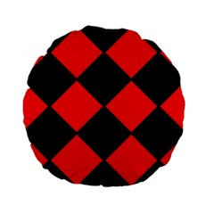 Red Black square Pattern Standard 15  Premium Flano Round Cushions
