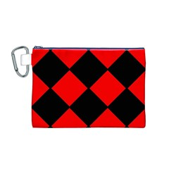 Red Black Square Pattern Canvas Cosmetic Bag (m)