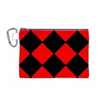 Red Black square Pattern Canvas Cosmetic Bag (M) Front