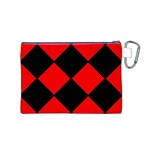 Red Black square Pattern Canvas Cosmetic Bag (M) Back